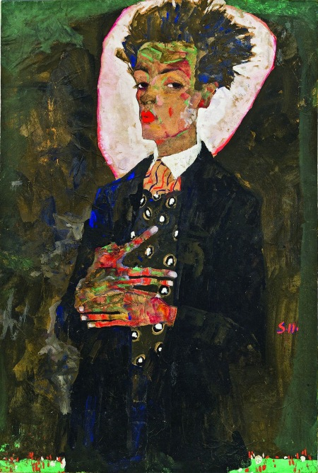 3.-Egon-Schiele-Self-Portrait-with-Peacock-Waistcoat-Standing-1911